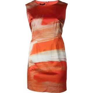 Lafayette 148 Womens Plus Printed Lined Party Dress