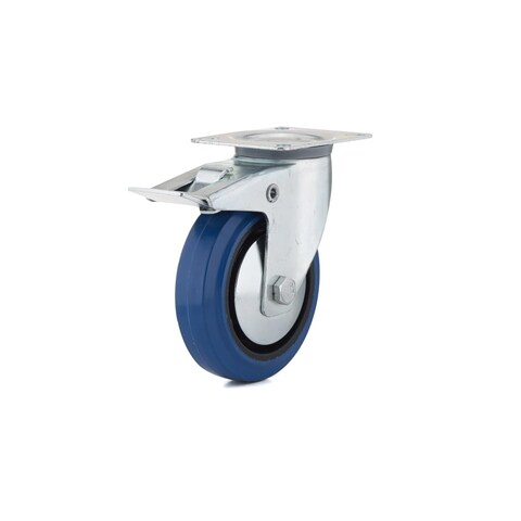 Richelieu F08339 220 lb. Maximum Weight Capacity Commercial Grade Swivel Mount Caster with Brake - Blue - N/A
