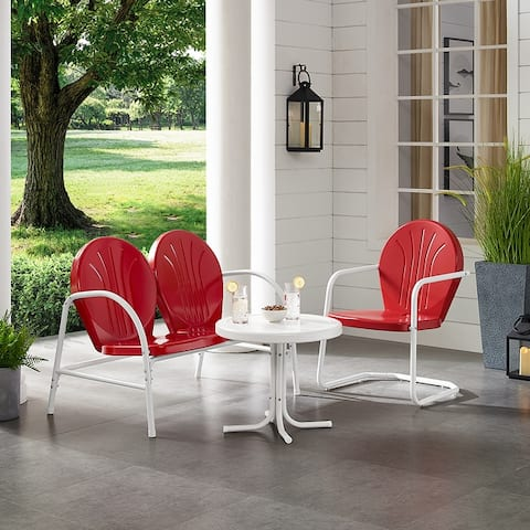 Griffith 3 Piece Metal Outdoor Conversation Seating Set - Loveseat & Chair in Red Finish with Side Table in White Finish