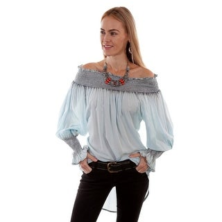 Scully Western Shirt Women Long Sleeve Smocked Over The Shoulder - Blue - m