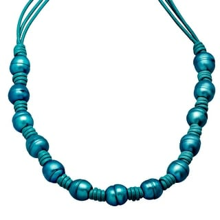 Teal Ringed Freshwater Pearl Leather Cord Necklace with Sterling Silver Clasp