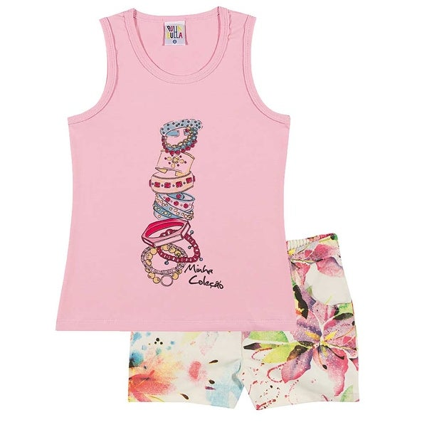 Girls Outfit Graphic Tank Top and Shorts Kids Set Pulla Bulla Sizes 2-10 Years