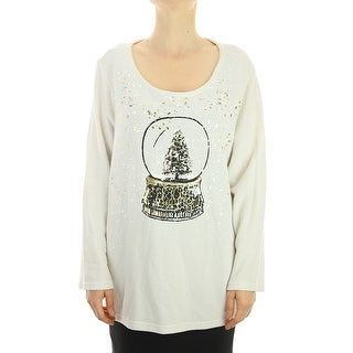 Style & Co. Plus Size Beige Let It Snow Holiday Foil-Print Sweater X