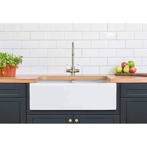 """Double Bowl Farm, Farmhouse Apron Front Fireclay Kitchen DOUBLE WALL Sink, 33"""", White"""
