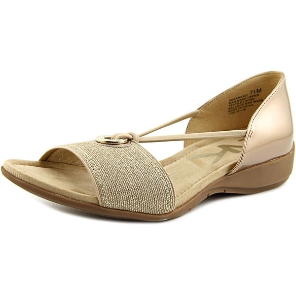 Anne Klein Sport Kameko Women Open Toe Synthetic Gold Wedge Sandal