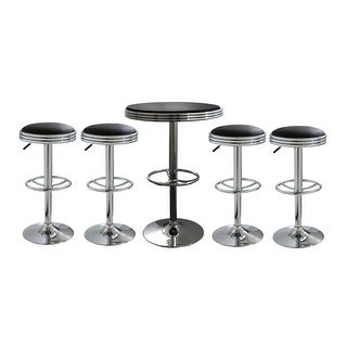 Offex 5 Piece Soda Fountain Style Bar Set with Table and Stool - Black
