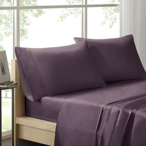 Shop 100 Percent Pima Cotton Liquid Sheet Set Purple Queen Free