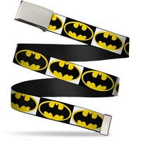 Blank Chrome Bo Buckle Batman Shield Blocks White Black Yellow Webbing Web Belt