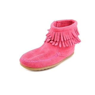 Minnetonka Double Fringe Toddler Moc Toe Suede Pink Ankle Boot