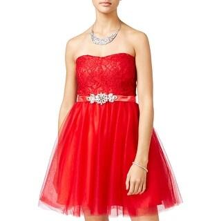Crystal Doll Womens Juniors Semi-Formal Dress Sweatheart Neckline Embellished