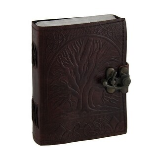 Embossed Leather Tree of Life Journal with Brass Clasp 3 1/2 in. X 5 in. - brown