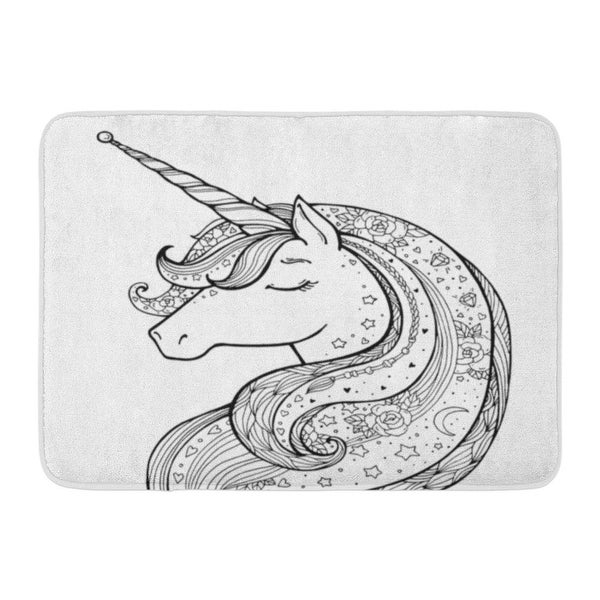 - Shop Black Friday Deals On Unicorn Magical Black And Coloring Book Pages  For Adults Kids Funny Character Zentangle Boho Doormat Floor Rug Bath Mat -  Multi - On Sale - Overstock - 31780326