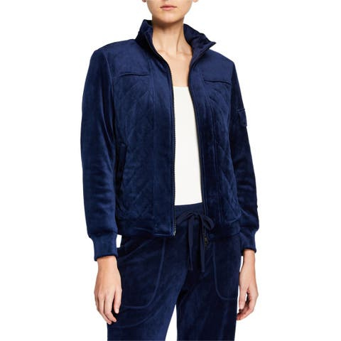 Laundry by Shelli Segal Quilted Velour Jacket, Midnight, Medium