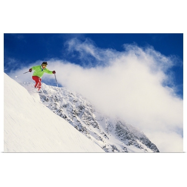 """Skier flying over slope with clouds, Whistler Mount, Canada, low angle view"" Poster Print"