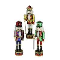 "Set of 3 Decorative Wooden Sequin Jacket Christmas Nutcracker 14"""