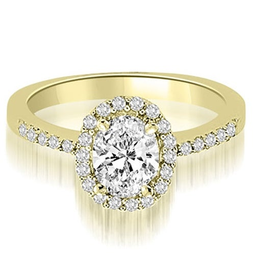 0.75 cttw. 14K Yellow Gold Oval And Round Shape Halo Diamond Engagement Ring