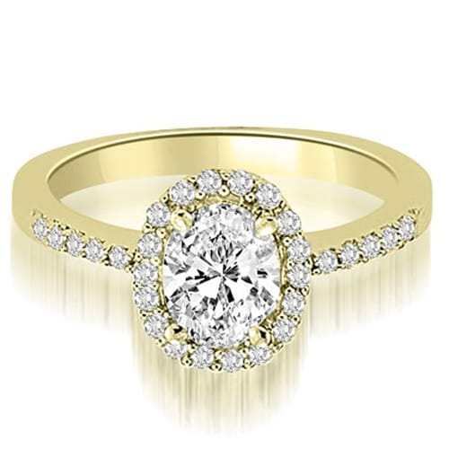 1.00 cttw. 14K Yellow Gold Oval And Round Shape Halo Diamond Engagement Ring