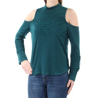 AMERICAN RAG Womens New 1319 Teal Cut Out Long Sleeve Turtle Neck Top M B+B