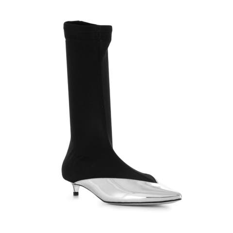 Givenchy Women's Leather Metallic Slip-On Ankle Boots Silver