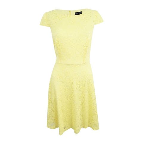 Connected Women's Cap-Sleeve Lace Fit & Flare Dress - Light Yellow