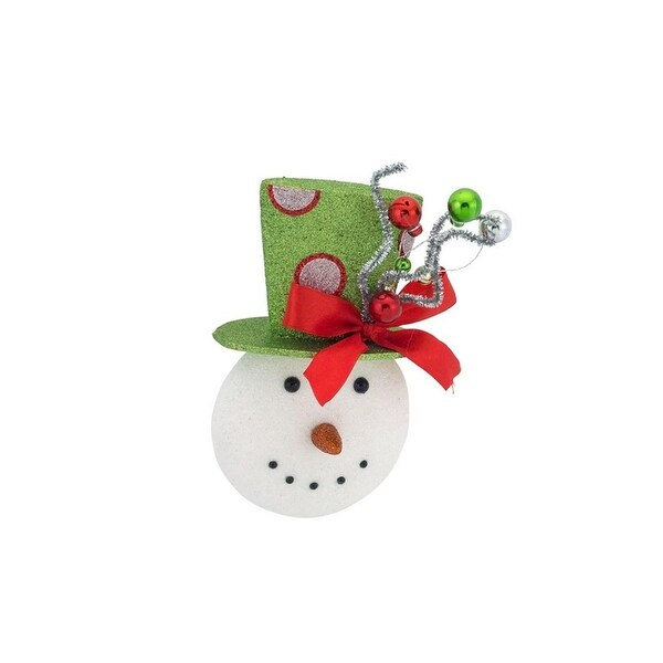 "8"" Sparkling Snowman Wearing a Festive Green Top Hat Christmas Ornament"
