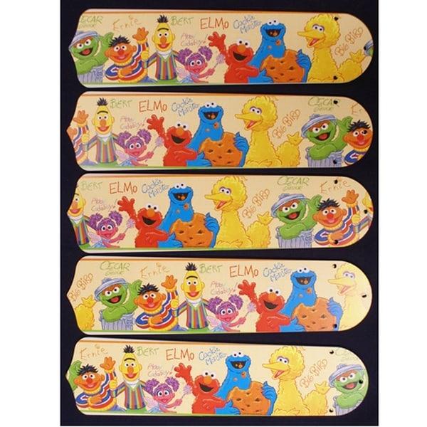 Sesame Street Characters Custom Designer 52in Ceiling Fan Blades Set - Multi