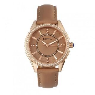 Bertha Clara Women's Quartz Watch, Genuine Leather Band, Luminous Hands