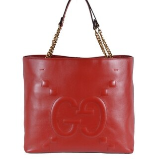 Gucci Women's 453561 Red Leather GG Original Apollo Purse Tote Handbag