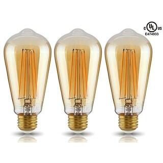 1Pc/3 Pcs LED ST19 Vintage Filament Light Bulb, ST64 S21 Antique Edison, 4W 2200K Soft White, E26 Medium Base, UL-Listed