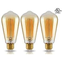 1Pc/3 Pcs LED ST19 Vintage Filament Light Bulb, ST64 S21 Antique Edison, 4W 2200K Soft White, E26 Medium Base, UL-Listed