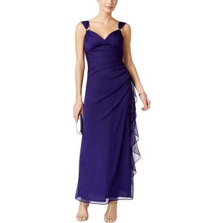 Betsy & Adam Womens Evening Dress Ruched Embellished