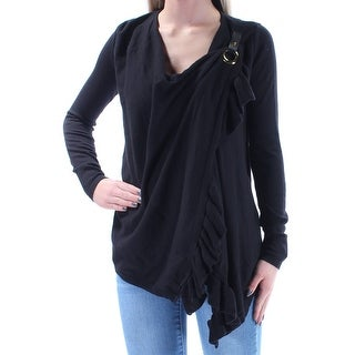 Womens Black Long Sleeve Casual Wrap Sweater Size XS