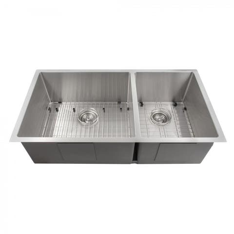 ZLINE Undermount Double Bowl Sink in Stainless Steel with Bottom Grid