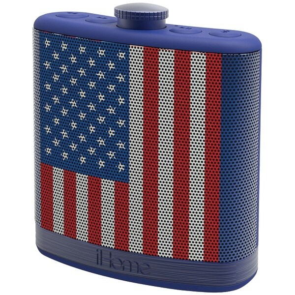 Ihome Ibt12Amflxc Rechargeable Flask-Shaped Bluetooth(R) Stereo Speaker With Custom Sound Case (Flag)
