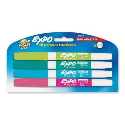 Expo Low-Odor Dry-Erase Marker Set - Fine Tip Tropical Colors