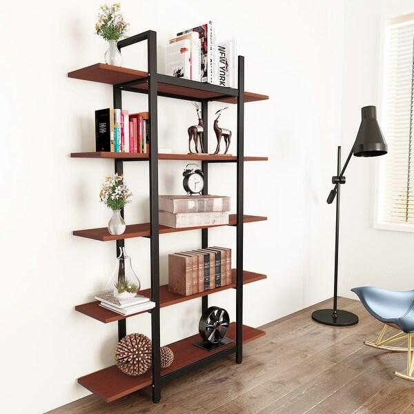 Tribesigns 3 Tier 5 Bookshelf Vintage Industrial Style Bookcase
