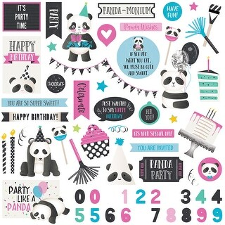 """Cake Panda Party Stickers 12""""X12""""-Elements"""