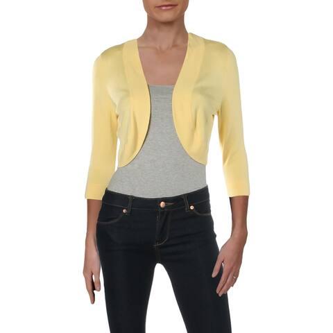 Jessica Howard Womens Petites Cardigan Sweater Crop Open Front - Yellow