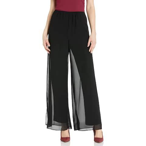 Alex Evenings Womens Dress Pants Black Size Medium M Chiffon Wide Leg