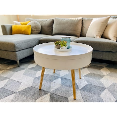 Zoe Mid-Century Modern Round Coffee Table with Storage