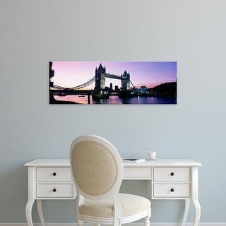 Easy Art Prints Panoramic Images's 'Bridge at dusk, Tower Bridge, Thames River, London, England' Premium Canvas Art