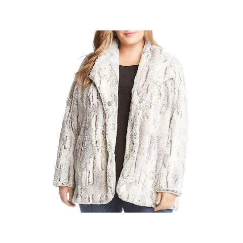 Karen Kane Womens Plus Starlight Faux Fur Coat Winter Faux Fur - 1X