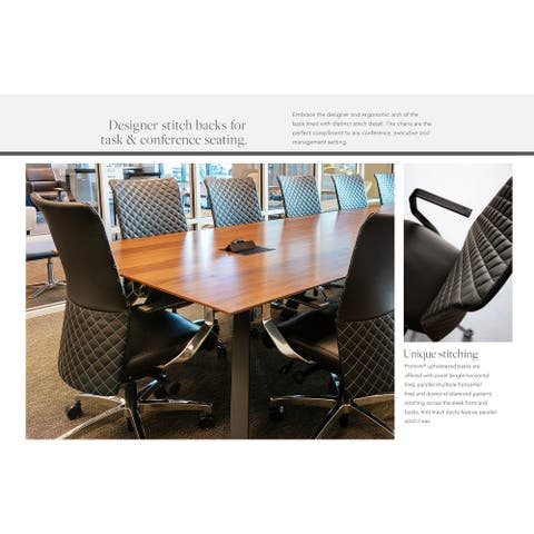 Proform Diamond Hand-Stitched Executive Ergonomic Desk Chair with Genuine Italian Leather and Polished Aluminum Frame