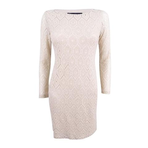 Jessica Howard Women's Petite Metallic-Lace Shift Dress - Natural Silver