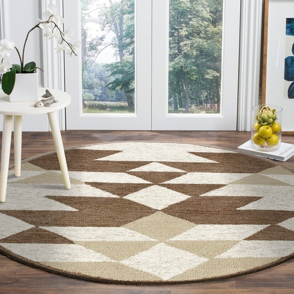 Rustic Southwestern Geometric Round Rug. Opens flyout.