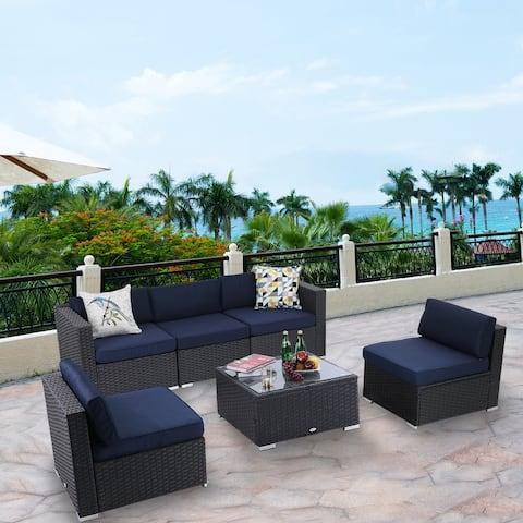 Phi Villa 6-pc. Outdoor Cushioned Rattan Sectional Sofa Set