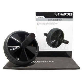 Synergee Core Ab Roller Wheel Includes Premium Knee Pad & Training Guide - Jet Black