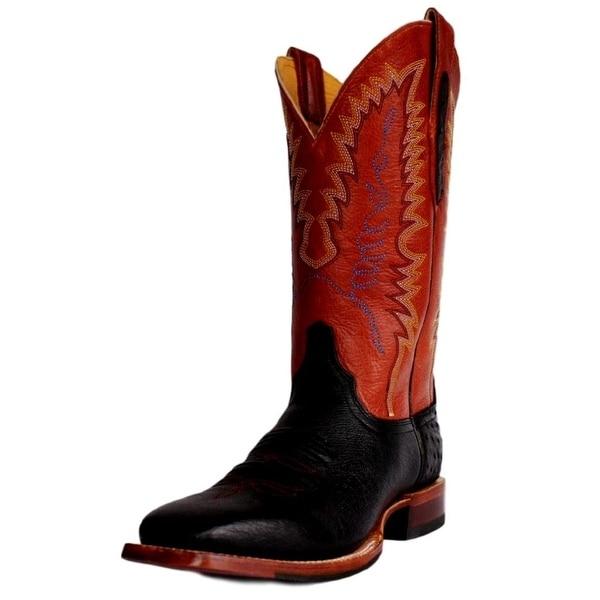 Cinch Western Boots Mens Cowboy Ostrich Rubber Square Black