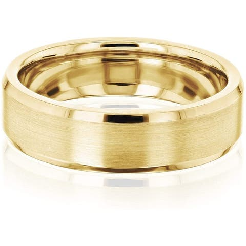 Annello by Kobelli 6MM Satin Matte Gold Beveled