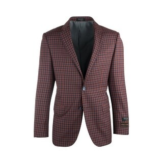 Sangria Rust with Navy Blue Checkered Pure Wool Jacket by Tiglio Luxe